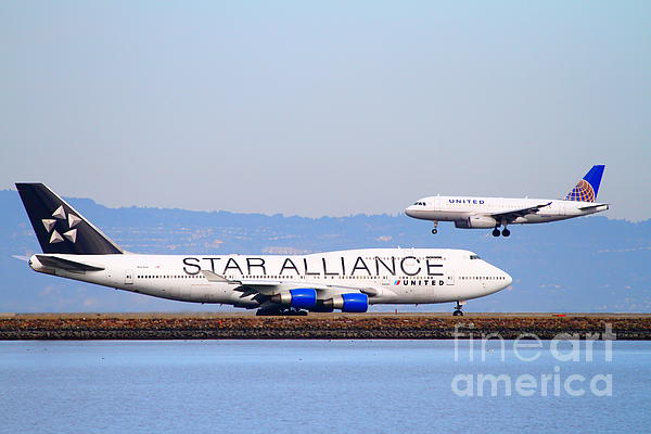 Star Alliance Airlines And United Airlines Jet Airplanes At San Francisco International Airport Sfo  Print by Wingsdomain Art and Photography