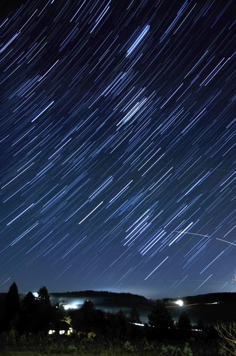Star Trails Long Exposure At Night Print by Evan Sharboneau