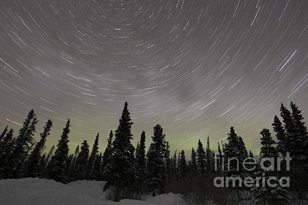 Star Trails, Milky Way And Green Aurora Print by Yuichi Takasaka