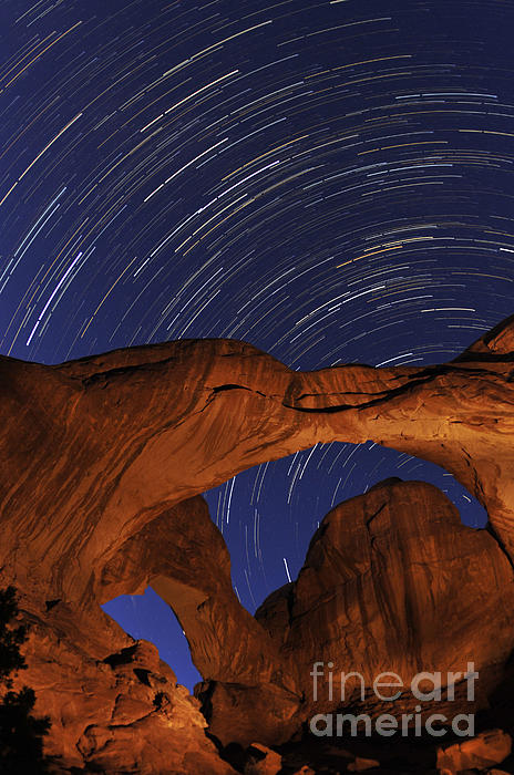 Star Trails Over Double Arch Print by Craig Ratcliffe