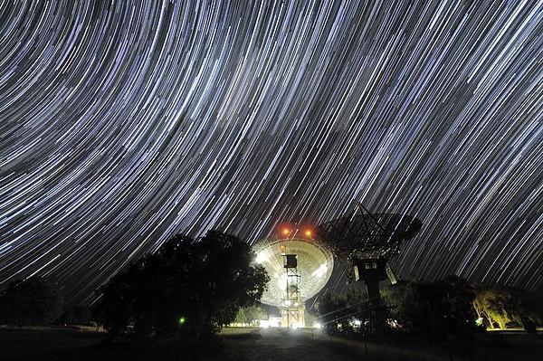 Star Trails Over Parkes Observatory Print by Alex Cherney, Terrastro.com