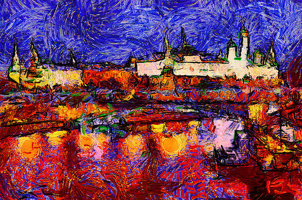 Starry Moscow Print by Yury Malkov