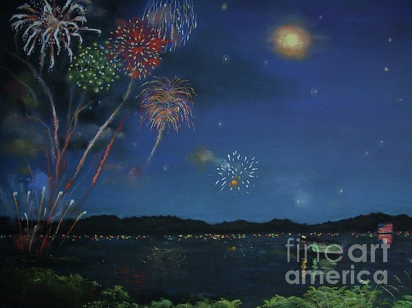 Starry Night At Crooked Creek Marina Print by Jackie  Hill