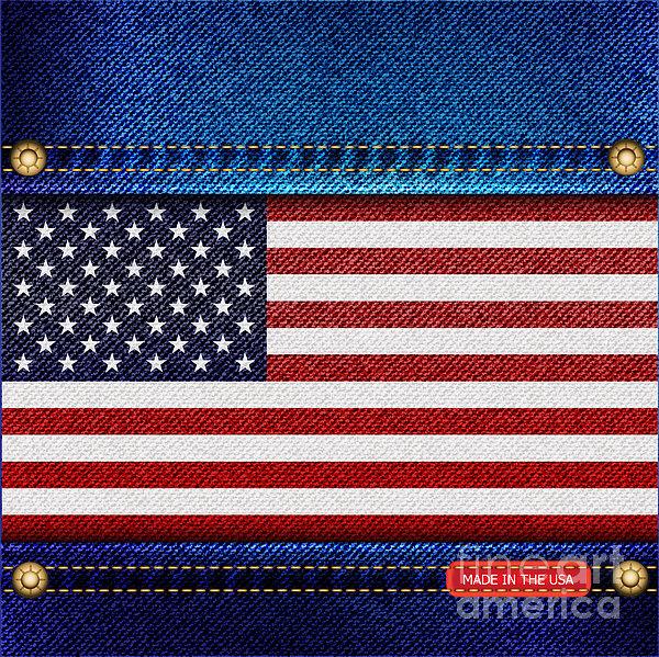 Stars And Stripes Denim Print by Jane Rix