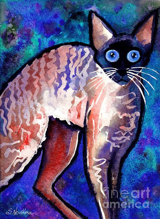 Startled Cornish Rex Cat Print by Svetlana Novikova