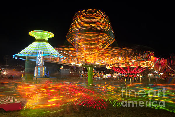 State Fair Rides At Night I Print by Clarence Holmes