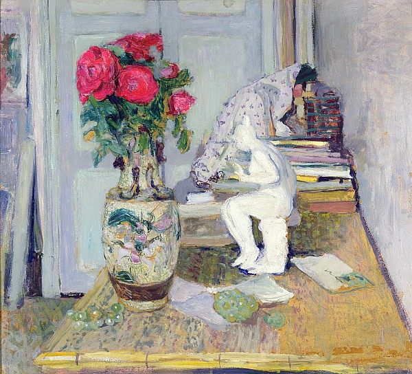 Statuette By Maillol And Red Roses Print by Edouard Vuillard