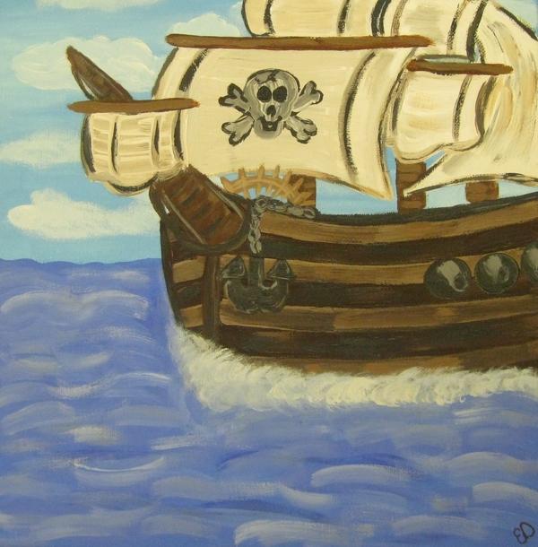 Steve's Spooky Ship Print by Eva  Dunham