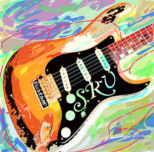 Stevie Ray Vaughan Stratocaster Print by David Lloyd Glover