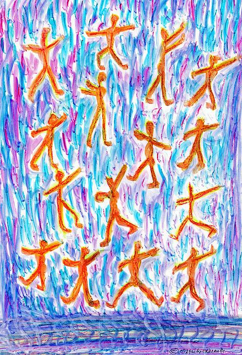 Stickmen Eighteen Days After Nine Eleven Print by Carl Deaville