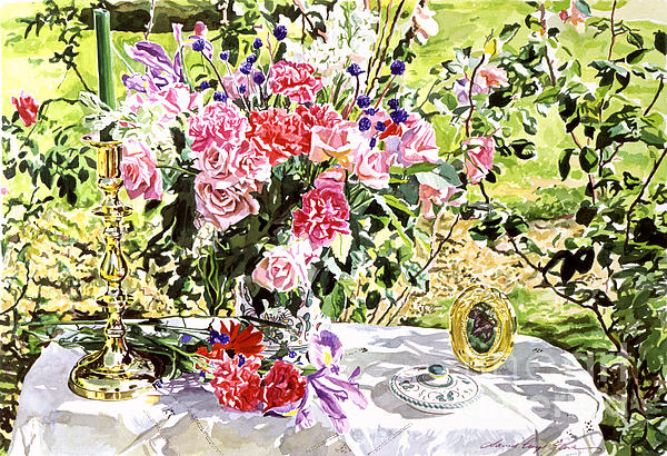 Still Life In The Artist's Garden Print by David Lloyd Glover