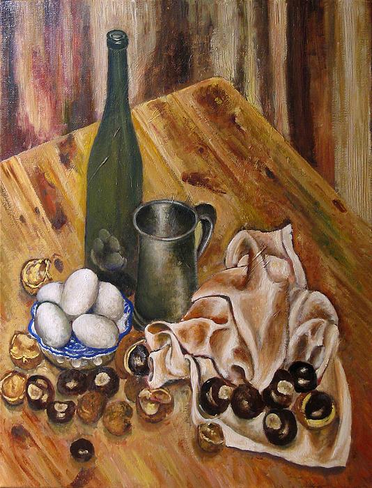 Still Life With Chesnuts And Eggs Print by Vladimir Kezerashvili
