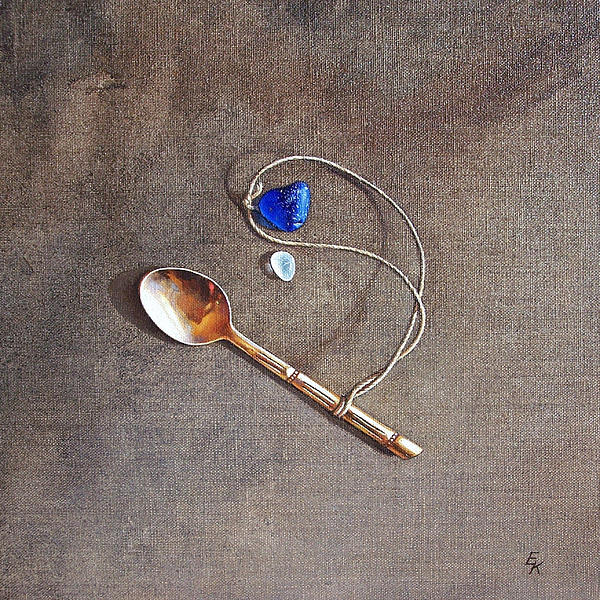 Still Life With Teaspoon And Sea Glass Print by Elena Kolotusha