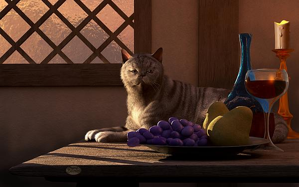 Still Life with Wine Fruit and Cat  Digital Art