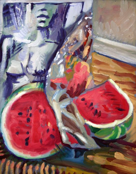 Still Life Wth Nude 2 Print by Piotr Antonow