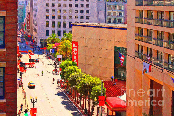 Stockton Street San Francisco Towards Union Square Print by Wingsdomain Art and Photography