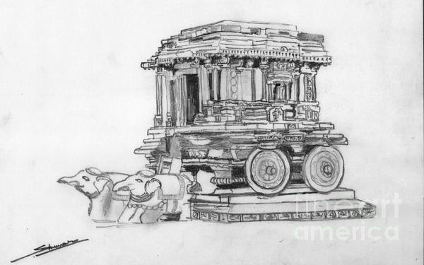 Stone Chariot Hampi Vijayanagar Empire Print by Shashi Kumar