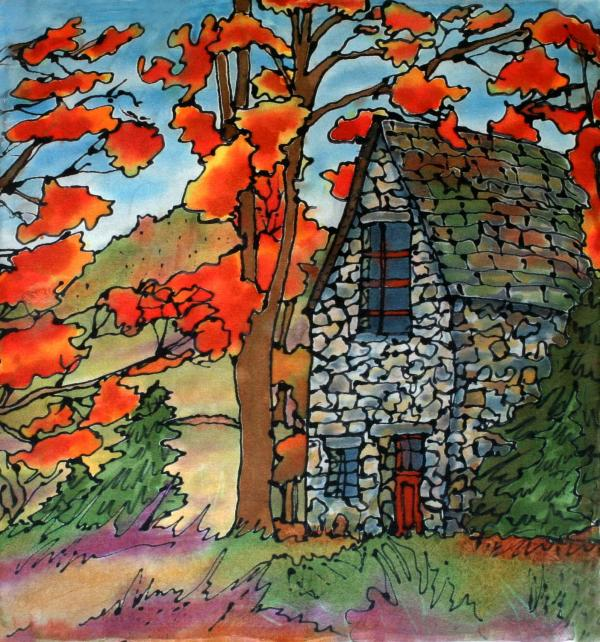 Stone Cottage Silk Painting Print by Linda Marcille