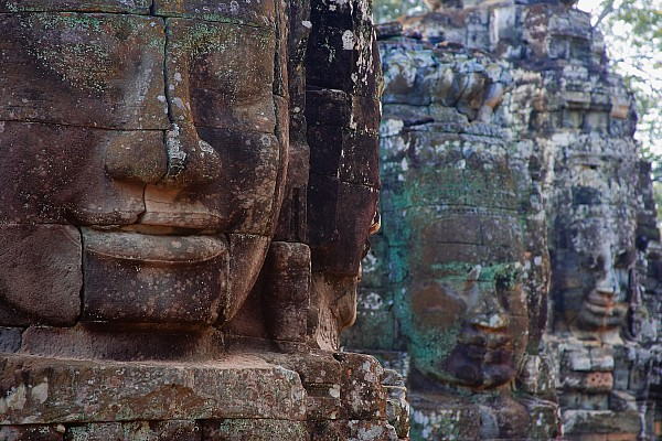 Stone Heads At Bayon Temple Print by Carson Ganci