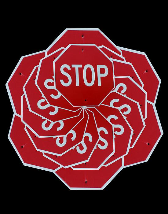 Stop Sign Kalidescope Print by Denise Keegan Frawley