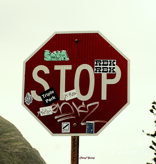 Stop Taggin Print by Cheryl Young