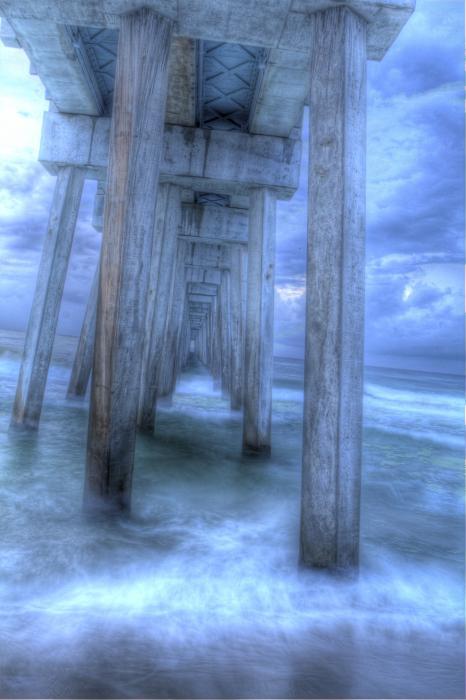 Stormy Pier 1 Print by Larry Underwood