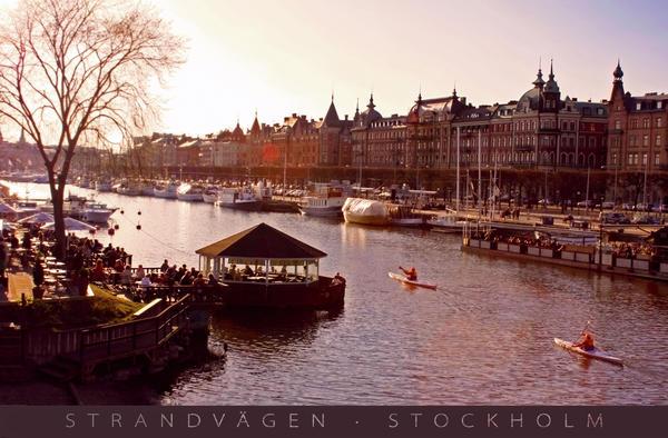 Strandvagen Stockholm Captioned Print by Mark Montana