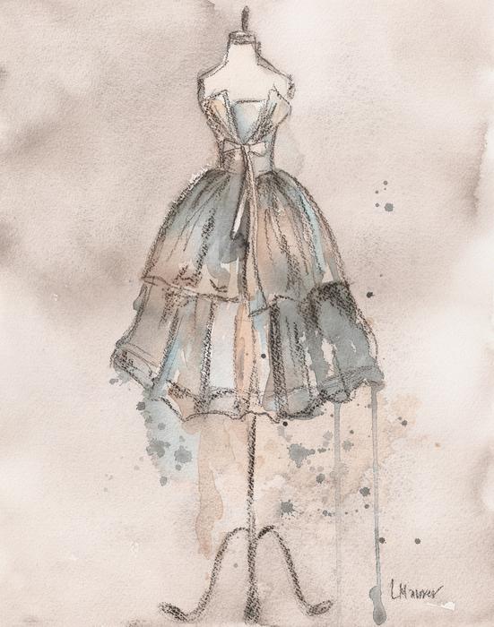 Strapless Champagne Dress Print by Lauren Maurer