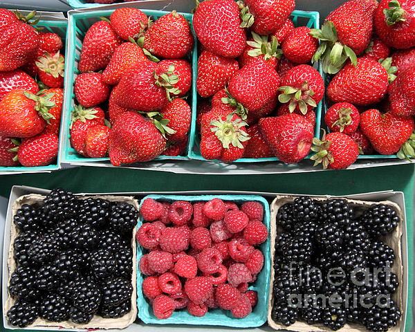 Strawberries Blackberries Rasberries - 5d17809 Print by Wingsdomain Art and Photography