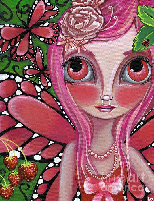 Strawberry Butterfly Fairy Print by Jaz Higgins