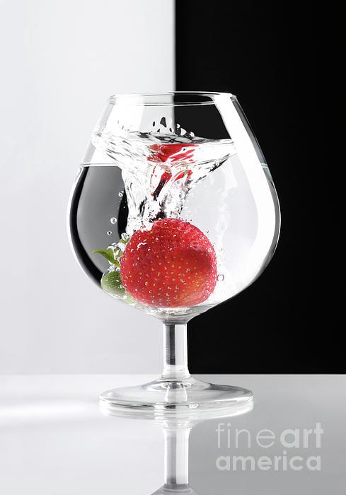 Strawberry In A Glass Print by Oleksiy Maksymenko