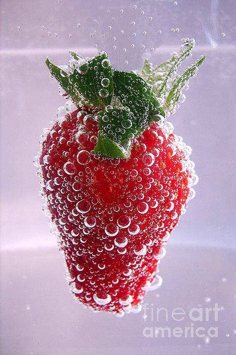 Strawberry In Soda Print by Soultana Koleska