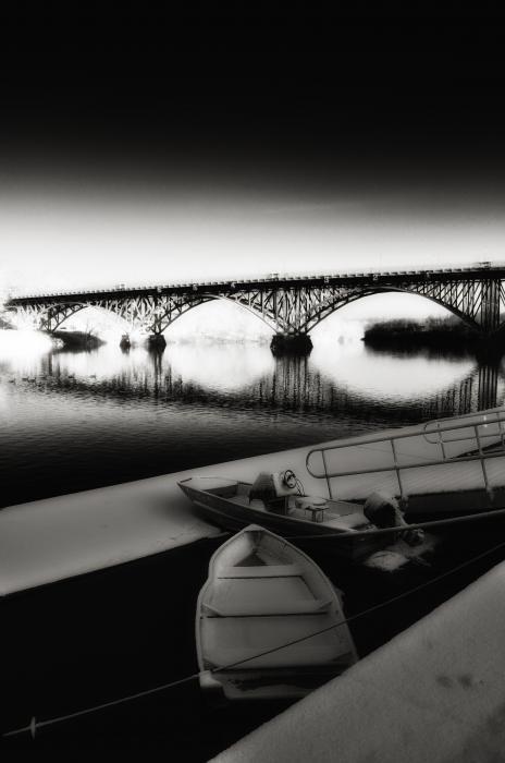 Strawberry Mansion Bridge In Winter Print by Bill Cannon