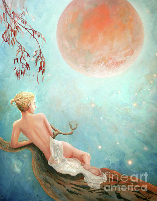 Strawberry Moon Nymph Print by Michael Rock