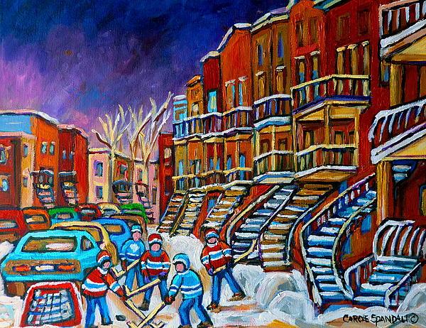 Street Hockey Game In Winter Print by Carole Spandau