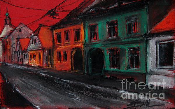 Street In Transylvania 1 Print by Mona Edulesco