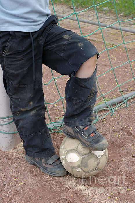 Street Soccer - Torn Trousers And Ball Print by Matthias Hauser