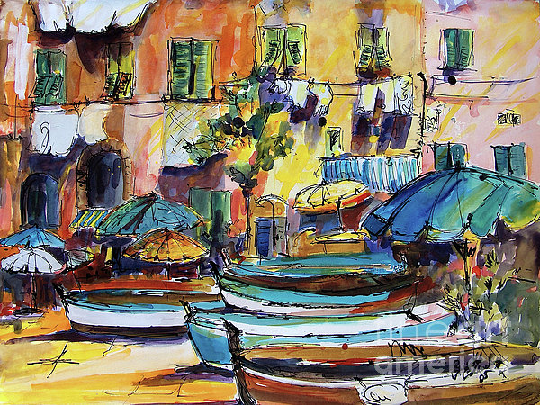 Streets Of Portofino Italy Print by Ginette Callaway