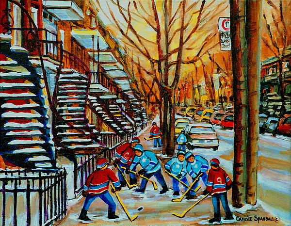 Streets Of Verdun Hockey Art Montreal City Scenes With Winding Staircases And Row Houses Print by Carole Spandau
