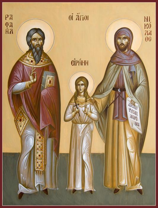 Sts Raphael Nicholas And Irene Print by Julia Bridget Hayes