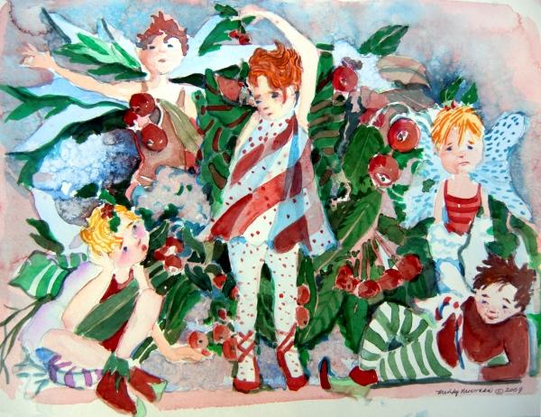 Sugar Plum Fairies Print by Mindy Newman