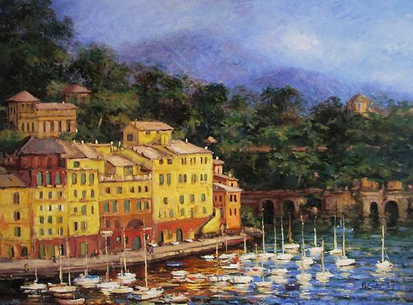 Summer Afternoon In Portofino Print by R W Goetting