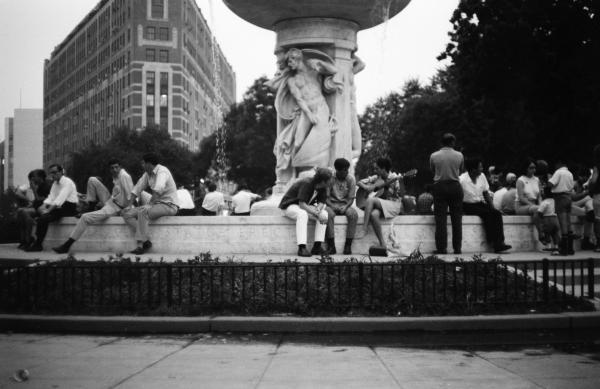 Summer Evening Dupont Circle Washington Dc Vintage 1966 Print by Wayne Higgs