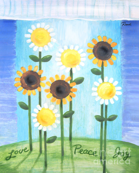 Summer Love Daisies Print by Renee Womack