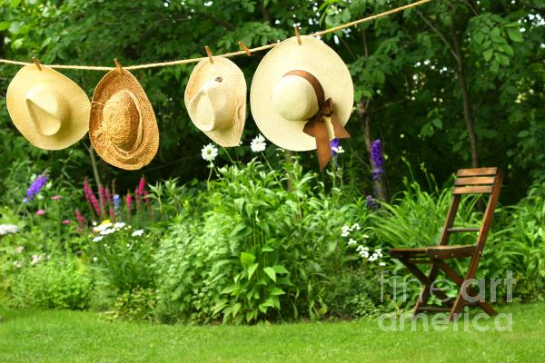 Summer Straw Hats Hanging On Clothesline Print by Sandra Cunningham