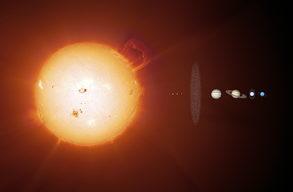 Sun And Planets, Size Comparison Print by Detlev Van Ravenswaay