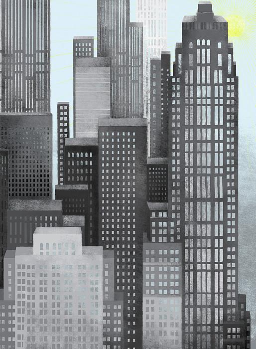 Sun And Skyscrapers Print by Jutta Kuss