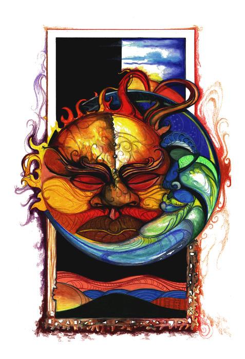 Sun Moon Print by Anthony Burks Sr