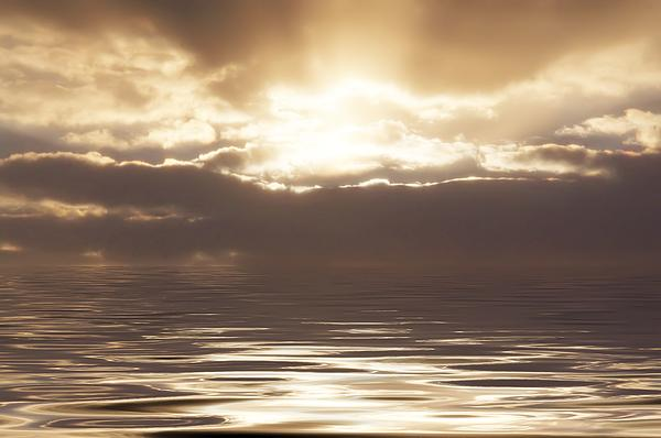 Sunburst Over Water Print by Bill Cannon