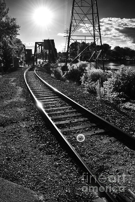 Sundown Gleaming Off The Rails Print by Shutter Happens Photography